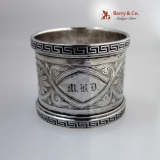 .Greek Key Coin Silver Napkin Ring 1870