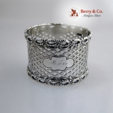 .Twisted Rope Cut Work Napkin Ring Coin Silver 1860 John
