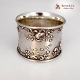 .Rose Scroll Napkin Ring Applied Gorham Sterling Silver 1900