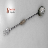 .Aesthetic Olive Fork Spoon Floral Twist Handles 1880