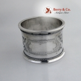 .Foliate Beaded Rim Large Napkin Ring Coin Silver 1870