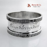 .Greek Key Napkin Ring Mary Parry Farr Sterling Silver 1900