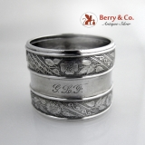 .Aesthetic Floral Foliate Napkin Ring Gorham Sterling Silver 1880