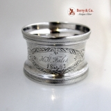.Engine Turned Napkin Ring Engraved Foliate Coin Silver 1863