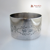 .Aesthetic Engraved Ivy Napkin Ring Coin Silver 1870