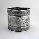 .Floral Engraved Sterling Silver Napkin Ring Gorham 1878