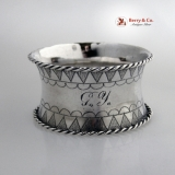 .Huge Rope Border Napkin Ring Coin Silver 1861