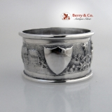 .Figural Repousse Napkin Ring Indian Colonial Sterling Silver 1900