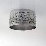 .Arts and Crafts Napkin Ring Floral Acid International 1910 Sterling Silver