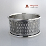 .Engine Turned Napkin Ring Birmingham 1939 Sterling Silver
