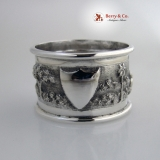 .Indian Colonial Napkin Rings Repousse Village Scene Sterling Silver 1890