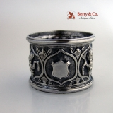 .Figural Repousse Napkin Ring Solid Silver 1940