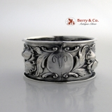 .Floral Repousse Napkin Ring Sterling Silver 1910