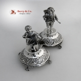 .Figural Toothpick Holders Large Sterling Silver Portugal