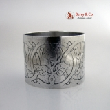 .Arts and Crafts Napkin Ring Floral Acid International Sterling Silver 1910