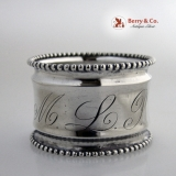 .Beaded Napkin Ring Sterling Silver MLP Monogram 1910