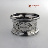 . Floral Repousse Napkin Ring Coin Silver 1860 Andrade