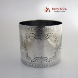 .Aesthetic Engraved Large Napkin Ring Coin Silver 1875