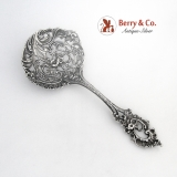 .Large Cast Bon Bon Server Floral Scroll Shell Open Work Sterling Silver 1900