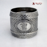 .Basket Weave Napkin Ring Coin Silver Wood and Hughes 1875 Monogram L