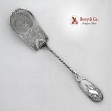 .Pastry Server Engraved Rose Coin Silver Ball Black Co 1860 No Monogram