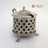 .Mustard Pot Open Work Rosette Cobalt Liner Durgin Sterling Silver 1890