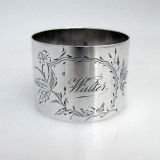 .Floral Engraved Sterling Silver Napkin Ring 1900