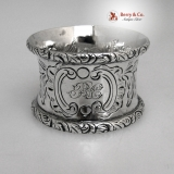 .Coin Silver Napkin Ring Floral 1860