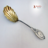 .Berry Spoon Gothic Engraved William Gale and Son Sterling Silver 1860