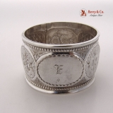 .Floral Geometric Beaded Napkin Ring 1850 Coin Silver Monogram E