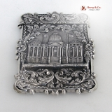 .Card Case US Capitol Washington′s Tomb Coin Silver 1850