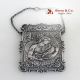 .Calling Card Case Cathedral Goddess Raven  Coin Silver 1850