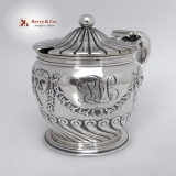 .Mustard Pot Belleflower Smiling Devil Masks Gorham 1892 Sterling Silver