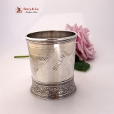 .Aesthetic Mug Geometric Foliate Engraved Gorham Sterling Silver 1878 Billie