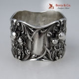 .Floral Repousse Napkin Ring Double Walled Sterling Silver 1900 No Monogram