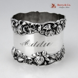 .Pond Lily Napkin Ring Gorham B209 Sterling Silver 1890 Monogram Addie