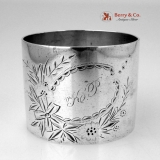 .Floral Engraved Napkin Ring Sterling Silver 1880 Monogram KP