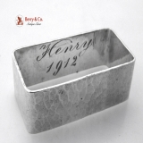 .Colonial Hammered Napkin Ring Marshall Fields Sterling Silver 1912 Henry