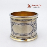 .Aesthetic Napkin Ring Ivy Gilt Matte Finish Coin Silver 1875 No Monogram
