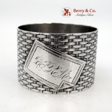 .Basket Weave Napkin Ring Coin Silver 1875 Monogram CRM
