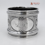 .Repousse Floral Napkin Ring Coin Silver 1870 Monogram CS