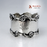 .Baroque Scroll Napkin Ring National Silver 1900 Sterling Silver Monogram FAR