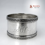 .Greek Key Napkin Ring Coin Silver 1870 Monogram MJC