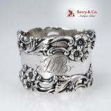 .Open Work Floral Napkin Ring Foliate Scroll Simons Brothers 1900 Sterling Silver Monogram ADB