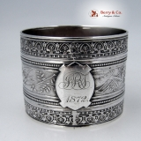 .Wendt Bird Napkin Ring Coin Silver 1872 Monogram JRT