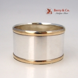 .Art Moderne Napkin Ring Tiffany Sterling Silver Gold Rims 1960