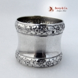 .Floral Repousse Napkin Ring National Sterling Silver 1900 No Monograms