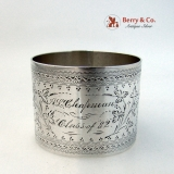 .Aesthetic Engraved Napkin Ring Coin Silver A L Chapman Class of ′82