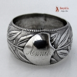 .Laurel Leaf Berry Napkin Ring Beaded Edge Coin Silver 1860 Annie