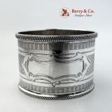 .Engine Turned Napkin Ring Coin Silver 1860 No Monogram